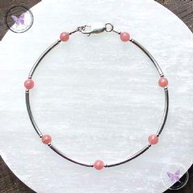 Rhodochrosite & Silver Bangle Bracelet